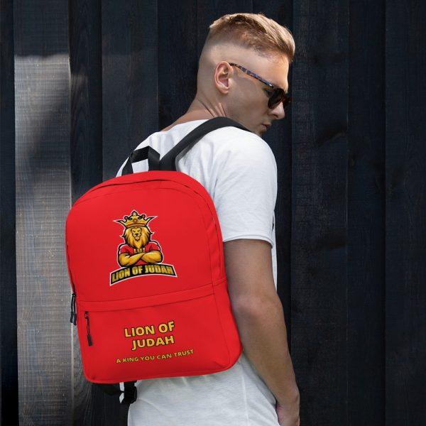 LOJ Red School Backpack Bag With Slogan