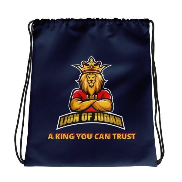 LOJ Blue Drawstring Backpack Bag With Slogan