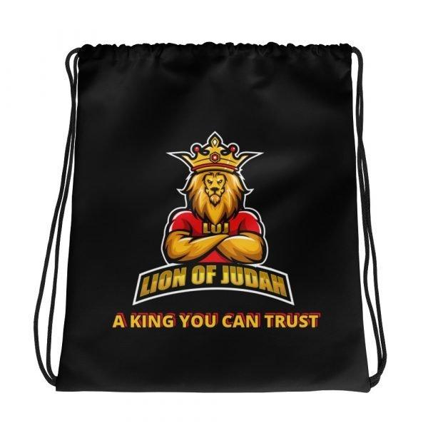 LOJ Black Drawstring Backpack Bag With Slogan