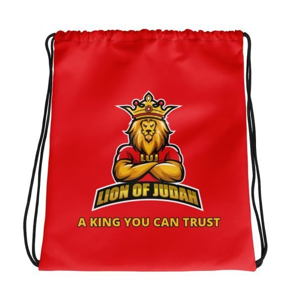 LOJ Red Drawstring Backpack Bag With Slogan