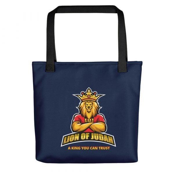 LOJ Blue Tote Handbag With Slogan