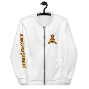 LOJ White Christian Bomber Jacket With Slogan