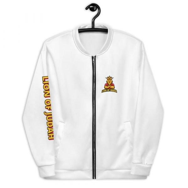 LOJ White Christian Bomber Jacket With Logo
