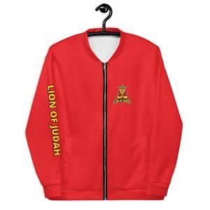 LOJ Red Christian Bomber Jacket With Logo & Slogan