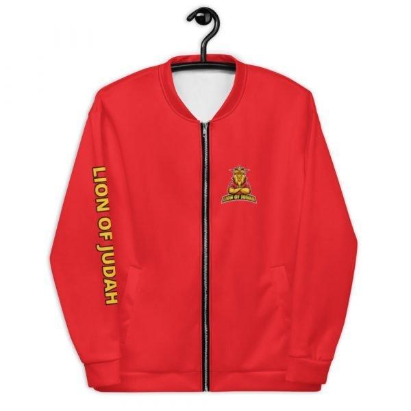 LOJ Red Christian Bomber Jacket With Logo