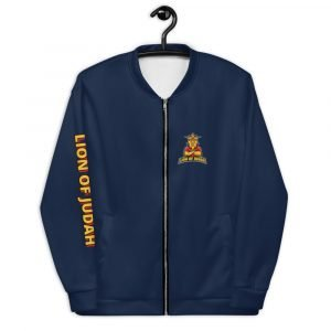 LOJ Blue Christian Bomber Jacket With Logo & Slogan
